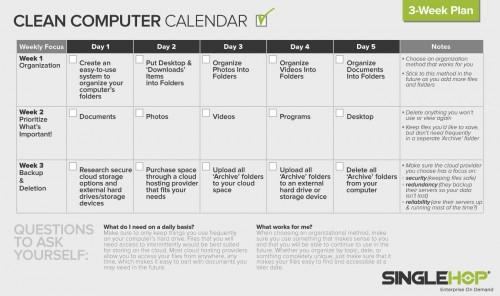 Declutter and organize the information living on your hard drive and digital calendar during Clean Up Your Computer Month with Come To Order and SingleHop.