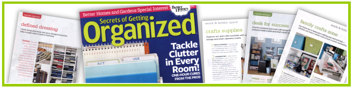 Kathy Jenkins contributes to BH&G The Secrets of Getting Organized Magazine