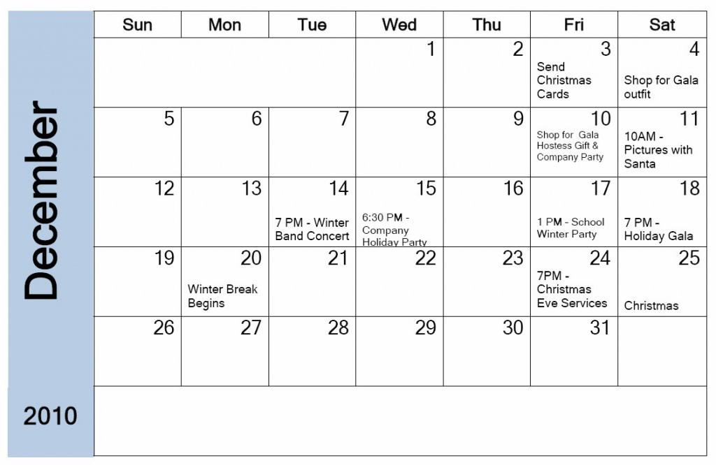 December Holiday Planning Calendar